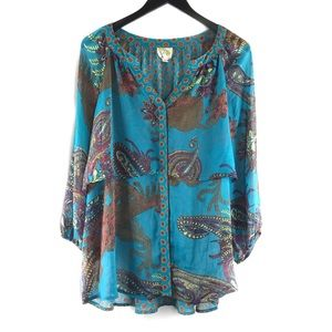 Fig And Flower Paisley Print Peasant Tunic Top